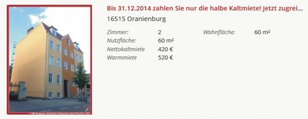 2-Raumwohnungen in Oranienburg